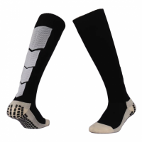 Men Pro Cotton Non-Skid Team Black Long Soccer Socks