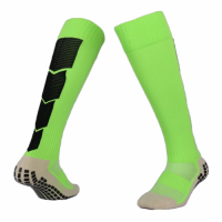 Men Pro Cotton Non-Skid Team Green Long Soccer Socks