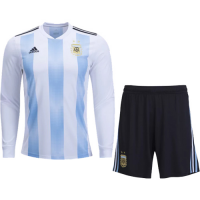 2018 Argentina Home Long Sleeve Jersey Kit(Shirt+Short)