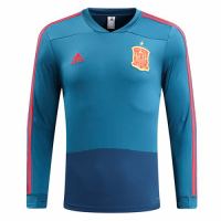 2018 Spain Blue Training Sweat Top Shirt