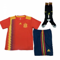 2018 Spain Home Red Children's Jersey Whole Kit((Shirt+Short+Socks)