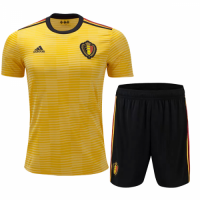 2018 World Cup Belgium Away Yellow&Black Jersey Kit(Shirt+Short)