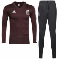 2018 World Cup Mexico Red&Gray Training Kit(Zipper Shirt+Trouser)