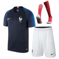 2018 World Cup France Home Soccer Jersey Whole Kit(Shirt+Short+Socks)