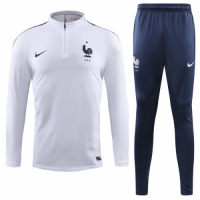 2018 World Cup France White&Navy Training Kit(Sweat Top Shirt+Trouser)