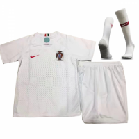 2018 World Cup Portugal Away White Children's Jersey Whole Kit(Shirt+Short+Socks)