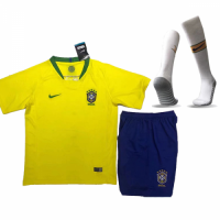 2018 World Cup Brazil Home Children's Jersey Whole Kit(Shirt+Short+Socks)