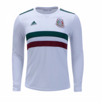 2018 World Cup Mexico Away White Long Sleeve Soccer Jersey Shirt