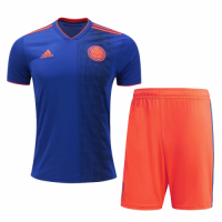 2018 World Cup Colombia Away Navy&Orange Jersey Kit(Shirt+Short)