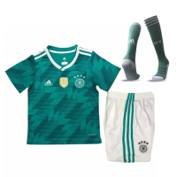 2018 World Cup Germany Away Green Children's Jersey Whole Kit(Shirt+Short+Socks)
