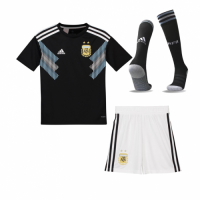 2018 World Argentina Away Black Children's Whole Jersey Kit(Shirt+Short+Socks)