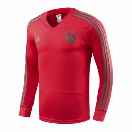 18-19 Bayren Munich Red&Gray Stripe V-Neck Sweat Top Shirt,