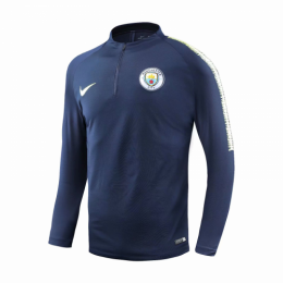 18-19 Manchester City Navy Zipper Sweat Top Shirt,