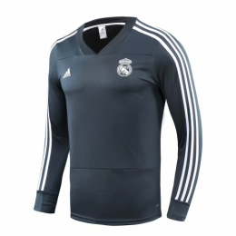 18-19 Real Madrid Green V-Neck Sweat Top Shirt,