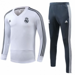 18-19 Real Madrid White&Green Training Kit( Sweat Top Shirt+Trouser)