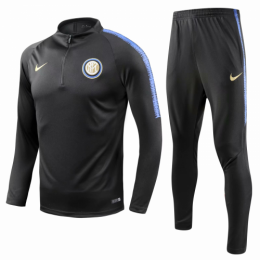 18-19 Inter Milan Black Training Kit(Zipper Sweat Top Shirt+Trousers),