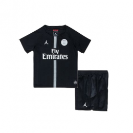 18-19 PSG JORDAN 3rd Away Black Children's Jersey Kit(Shirt+Short)