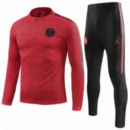 18-19 PSG JORDAN 3rd Away Red Zipper Sweat Shirt Kit(Top+Trouser)