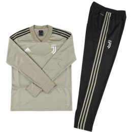 Kids 18-19 Juventus Gray Sweat Shirt Kit(Top+Trouser)