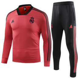 18-19 Real Madrid Red Zipper Sweat Shirt Kit(Top+Trouser)