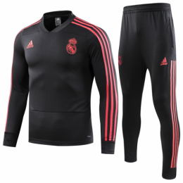18-19 Real Madrid Black Zipper Sweat Shirt Kit(Top+Trouser),