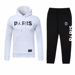 18-19 PSG JORDAN 3rd Away White Hoody Sweat Kit(Top+Trouser)