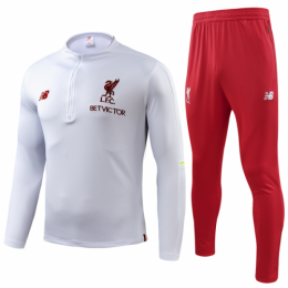 18-19 Liverpool White Sweat Shirt Kit(Top+Trouser),