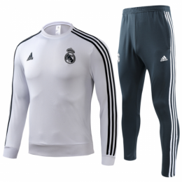 18-19 Real Madrid White Sweat Shirt Kit(Top+Trouser)