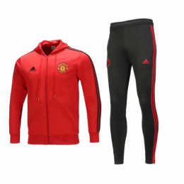 18-19 Manchester United Red Hoody Training Kit(Jacket+Trouser)