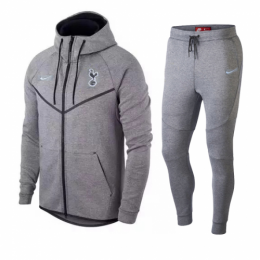 18-19 Tottenham Hotspur Gray Hoody Training Kit(Jacket+Trouser)