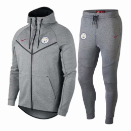18-19 Manchester City Gray Hoody Training Kit(Jacket+Trouser),