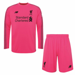 18-19 Liverpool Goalkeeper Pink Long Sleeve Jersey Kit(Shirt+Short)