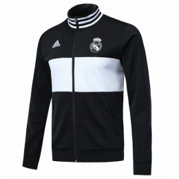 18-19 Real Madrid Black&White High Neck Collar Training Jacket