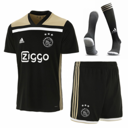 18-19 Ajax Away Black Soccer Jersey Whole Kit(Shirt+Short+Socks)