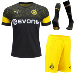 18-19 Borussia Dortmund Away Black Soccer Jersey Whole Kit(Shirt+Short+Socks)