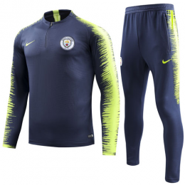18-19 Manchester City Navy&Green Player Version Sweat Shirt Kit(Top+Trouser)