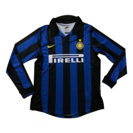 1998 Inter Milan Home Blue&Black Long Sleeve Retro Jerseys Shirt