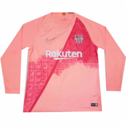 18-19 Barcelona Third Away Pink Long Sleeve Jersey Shirt