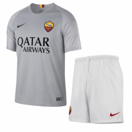18-19 Roma Away Gray  Soccer Jersey Kit(Shirt+Short)