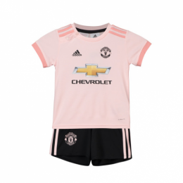 18-19 Manchester United Away Pink Children's Jersey Kit(Shirt+Short)