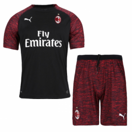 18-19 AC Milan Third Away Black Soccer Jersey Kit(Shirt+Short),