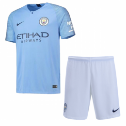 18-19 Manchester City Home Player Version Soccer Jersey Kit(Shirt+Short)