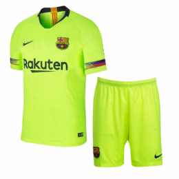 18-19 Barcelona Away Green Player Version Soccer Jersey Kit(Shirt+Short)