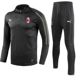 18-19  AC Milan Black Zipper Sweat Shirt Kit(Top+Trouser)