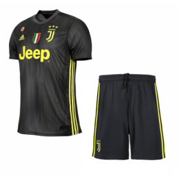 18-19 Juventus Third Away Black Soccer Jersey Kit(Shirt+Short),