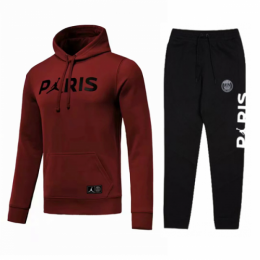 18-19 PSG JORDAN 3rd Away Dark Red Hoody Sweat Kit(Top+Trouser)
