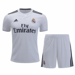 18-19 Real Madrid Home White Soccer Jersey Kit(Shirt+Short),