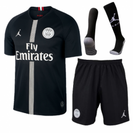 18-19 PSG JORDAN 3rd Away Black Soccer Whole Jersey Kit(Shirt+Short+Socks)