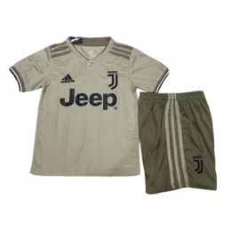 18-19 Juventus Away Light Gray Children's Jersey Kit(Shirt+Short)