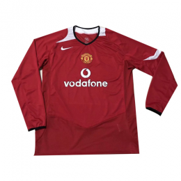 2006 Manchester United Home Red Long Sleeve Retro Jerseys Shirt